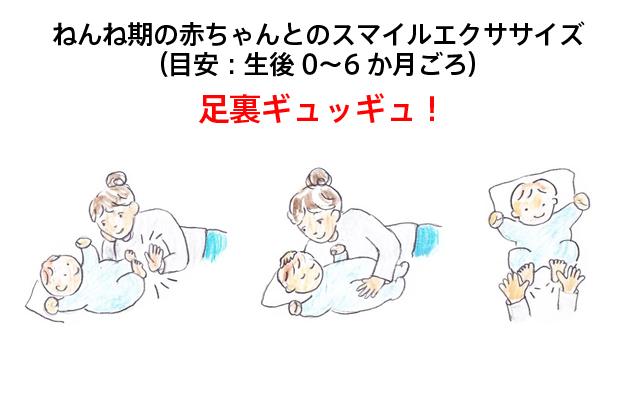 ねんね期の赤ちゃんとのスマイルエクササイズ(目安:生後 0~6 か月ごろ)